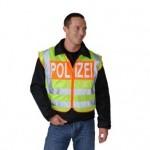 BONOWI - 0111203 Warnweste Modell BMI mit Aufschrift POLIZEI, gelb-orange