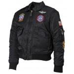 MFH - 17352A US Kinder-Pilotenjacke, CWU, schwarz, mit Fliegerabzeichen Größe L - LAGERWARE