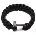 """MFH - 28183A Armband, """"Paracord"""", schwarz, Metallverschluss, Breite 2,3cm"""